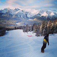 cruising the groomers early morning. Not a bad view. Snowboarding, Skiing, Lake Louise Ski Resort, Mountain Resort, Alberta Canada, Winter Scenes, Early Morning, Cruise, Bucket