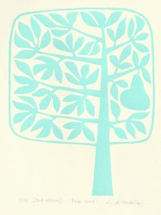 Ruth Broadway - Pear tree lino print - pale green/blue. via Etsy.
