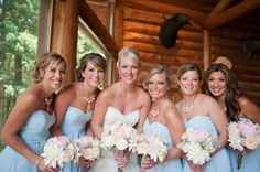 Powder Blue Bridesmaid Dresses!  Come to Davison Bridal in Davison, MI for all of your wedding day and special event needs!  Call (810) 658-6070 or visit our website www.davisonbridal.com for more information!