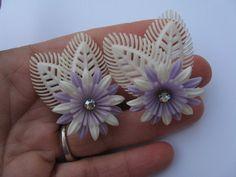 Soft Plastic Rhinestone clip earrings lavender  flowers 1950s Vinatge 50s Pinup