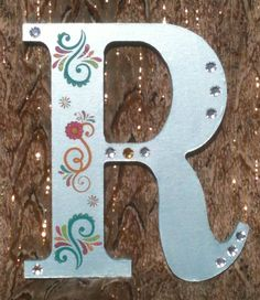 Wood Letter R, Icy Blue with Flower and Scroll Decals and Sequins by projectsbyGnG on Etsy