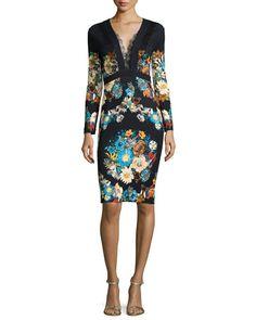 B30SH Roberto Cavalli Lace-Trimmed Floral-Print Sheath Dress