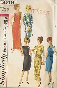 """Vintage Dress One PC Sewing Pattern Simplicity 5016 Size 10 Bust 31 Hip 33"""" Cut 