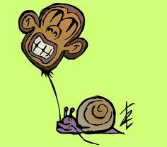 """Vuoi acquistare i miei lavori? http://www.redbubble.com/people/erroret Post- T """"Slow Monkey"""" - Disegno su post-it vettorializzato."""