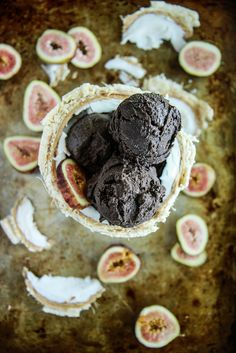 Vegan Dark Chocolate Fig Coconut Ice Cream from HeatherChristo.com