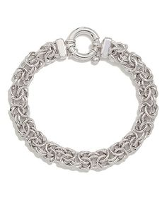 Another great find on #zulily! White Gold Pkated Sterling Silver Chain-Link Bracelet #zulilyfinds