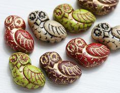 Fancy Owl Beads Mix, Czech Glass, Earring Pairs (8) - MayaHoneyBead