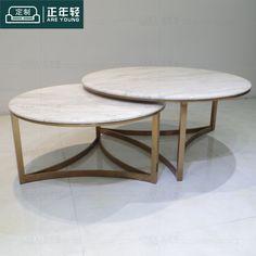 客厅简约现代不锈钢组合茶几爵士白大理石圆形茶桌样板房家具定制-淘宝网
