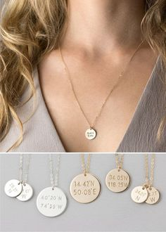 Coordinates Disc Necklace, Custom Personalized with latitude & longitude. 14k Gold Filled, Sterling Silver or Rose Gold Filled. Inscribe your piece with special locations youve travelled, where youre from, meaningful places or your favorite city! Also makes a wonderful friendship gift, or graduation present.   Necklace: COORDINATES DISC  - Top quality 14K Gold Filled, Sterling Silver or Rose Gold Filled components. - Personalized by hand - Comes in a cute little package   Other styles of…