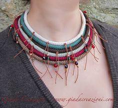 Tribal crochet collar