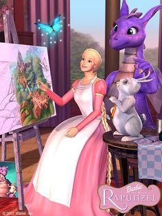 Barbie as Rapunzel Photo: Rapunzel, friends& painting Rapunzel Barbie, Childhood Movies, My Childhood, Barbie Cartoon, Princess And The Pauper, Barbie Images, Barbie Movies, Disney Dolls, Disney And More