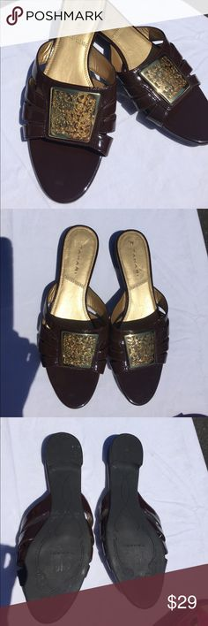 """Tahari """"Parson"""" brown and gold sandals SZ 9.5 M Beautiful and comfortable with medium wear, these brown man made patent leather sandals are not fitting my sister since her foot surgery.   Will be cleaned prior to shipping, no damage other than heel bed as shown. Tahari Shoes Sandals"""