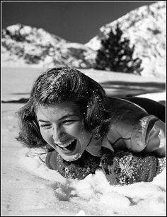 Looks like she's having a great time. Ingrid Bergman at June Lake Resort, California, 1941