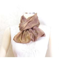 Brown Silk Scarf Infinity Scarf Gift for Her Circle Scarf Fall Scarf... ($25) ❤ liked on Polyvore featuring accessories, scarves, summer shawl, loop scarves, infinity scarf, lightweight infinity scarves and tube scarves