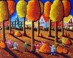 Kids Raking Leaves Whimsical Fun Colorful Fall Folk Art Original Painting