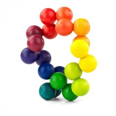 Playable Art Ball  by Bernd Leibert - Vibrantly colored set of 20 interconnected wooden balls which can be easily turned and twisted into an unlimited number of designs. Made of beechwood with non-toxic water based paint. Ages 3 - 99. #Toy #Wooden_Ball_Sculpture