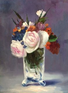 Manet - Flowers in a Crystal Vase Reproduction - Canvas Art & Reproduction Oil Paintings