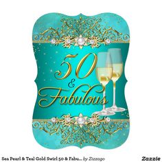 "Sea Pearl & Teal Gold Swirl 50 & Fabulous 5"" X 7"" Invitation Card"