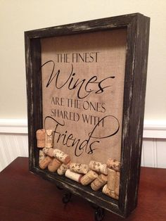 """Black Rustic Finish Wine Cork Holder Display Shadow Box 11x14"""" ~ Ready to Hang or Display on Mantle, Shelf, Buffet. Burlap Backed on Etsy, $38.00"""