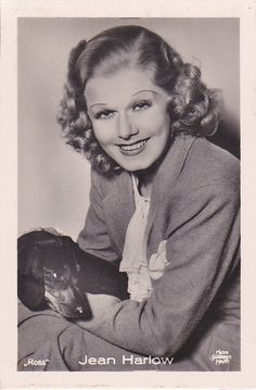 "JEAN HARLOW -1930s with her dachshund ""ROSS"" Photocard 