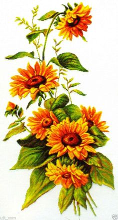 """A Sunflower"" counted cross stitch pattern leaflet. Big chart"