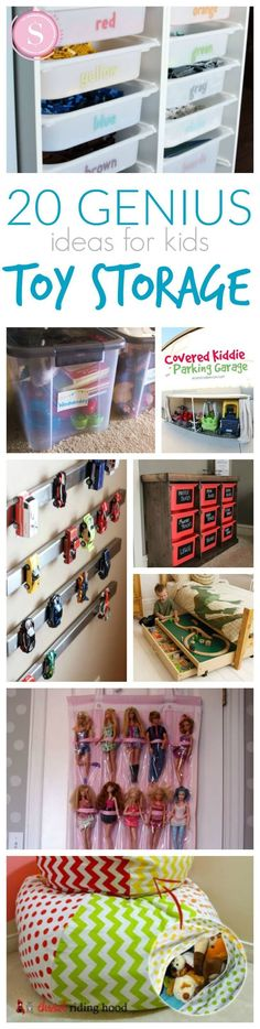 20 Genius Ideas for Organizing Your Kid's Rooms! Great tips and tricks for Spring Cleaning! #easykidsroomsdecor