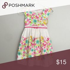 Floral Dress This darling bright colored dress in pink, teal, green, yellow and white. Matching dress in my closet in size 12 m. Firm price Dresses Formal