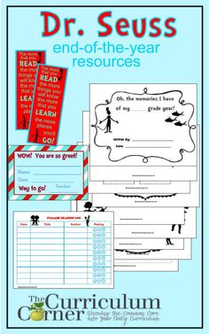 Dr. Seuss End of the Year Memory Book, Bookmarks, Certificate & more!  Free from The Curriculum Corner
