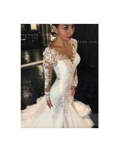 dentelle manches longues col v forme trompette/sirène longue tulle robe de mariée
