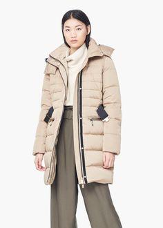 Anorak acolchado capucha desmontable - Abrigos de Mujer | MANGO