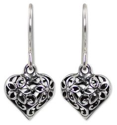 Sterling silver flower earrings, 'Blossoming Heart' - Sterling silver flower…