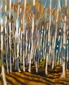 """Birches, Algonquin Park,"" Tom Thomson, oil on panel, x private collection. Impressionist Landscape, Abstract Landscape, Landscape Paintings, Tree Paintings, Abstract Paintings, Impressionism, Abstract Art, Emily Carr, Canadian Painters"