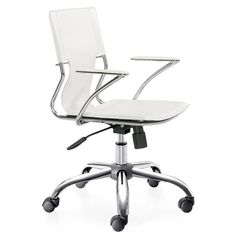 """Color: White Finish: Chrome Five Star Base with Casters Tilt Lock, Removable Arms Seat height adjustable 18"""" to 21""""High. Leatherette Seat and Back Primary Material: Leatherette The Ribbed Office Chair"""
