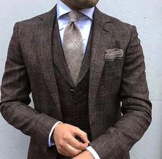 Brown suit with vest