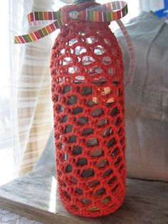 wine cozy gift bag crochet tote rust by MNPrairieCrafts on Etsy, $8.00