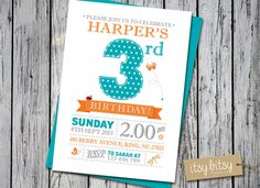 PRINTABLE 3rd Birthday Invitation - Garden Party, 1st, 2nd, 3rd or 4th Birthday Party 6x4 or 5x7 Orange Aqua Butterfly, Ladybird