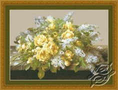 Yellow Roses & Lilacs - cross stitch kit, manufactured by Kustom Krafts. Stitches - 274x196. Includes 38 colors of floss dmc floss.