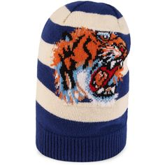 Gucci Striped Wool Hat With Embroidered Tiger ($505) ❤ liked on Polyvore featuring men's fashion, men's accessories, men's hats, accessories, men, mens hats, mens wool hats and gucci mens hat