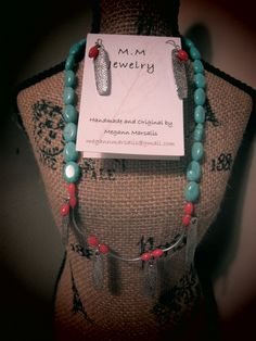 Red bamboo coral and aqua shell chips wire earrings and bracelet.