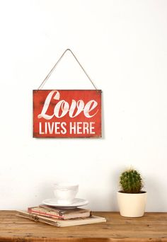 Vintage wall sign / Love Lives Here by Judydesignstore on Etsy