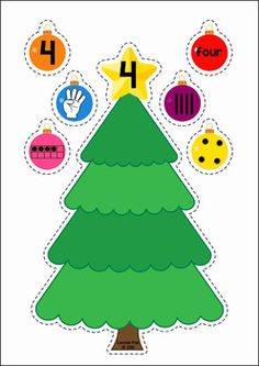 Christmas Preschool Centers. Differentiated Christmas tree and ornament number match - match the different number representation to the correct tree.