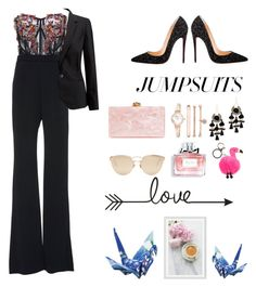 """""""urs"""" by catlovaa56 ❤ liked on Polyvore featuring Pamella Roland, Pure Collection, Christian Louboutin, Edie Parker, Anne Klein, Area Stars, Christian Dior, Molo, Pottery Barn and jumpsuits"""