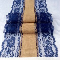 Hey, I found this really awesome Etsy listing at https://www.etsy.com/listing/181912064/5ft-10ft-burlap-lace-table-runner-navy