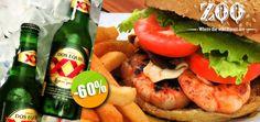 Zoo Bar & Dance - $70 en lugar de $175 por 1 Deliciosa Hamburguesa del Menú con Papas + 1 Cerveza Doble ó 1 Refresco Click http://cupocity.com/