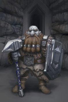 m Dwarf Ranger Leather Shield War Hammer dungeon community underdark mountains Character Portraits