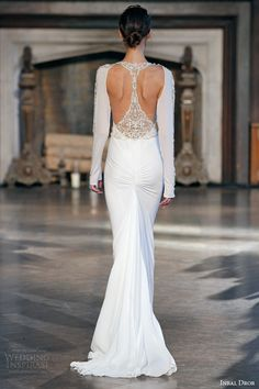 inbal dror bridal fall winter 2015 gown 7 sleeveless sheath gown long sleeve jacket back view train