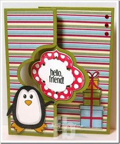 This card uses the new Sizzix Elegant Flip-its die set along with the elegant2stamp and Penguins4Christmas to create a birthday card.
