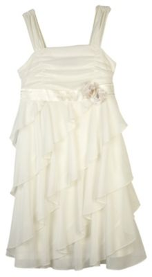 She will love the perfectly styled look of this Amy Byer dress featuring diagonal ruffles on the front and a satin empire waist with rosette detail.