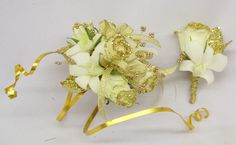 Arm Corsage of Glitter spray roses & white dendrobium orchids with matching Boutineer