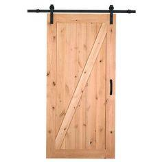 Masonite 42 in. x 84 in. Z-Bar Knotty Alder Interior Barn Door Slab with Sliding Door Hardware Kit